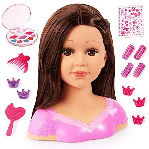 Bayer Design 90088AK Charlene Super Model Styling Head, Schminkkopf, Frisierkopf inklusive Kosmetik und Zubehör, braune Haare