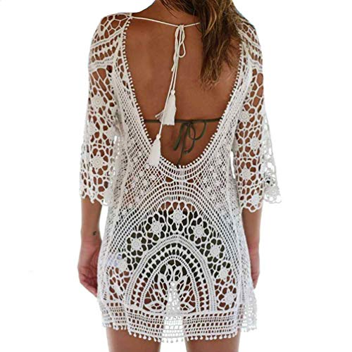Crochet Detail Knit Kleid (Bestyou Damen häkelspitze Tops Halter Knit-minikleid sexy Bikini-Badeanzug-Badeanzug bademode vertuschung Weiß. One Size)