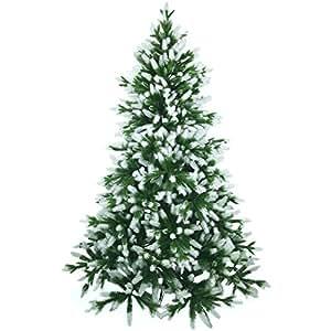 Künstlicher Weihnachtsbaum 180cm in Premium Spritzguss Qualität, angeschneite Nordmanntanne, Tannenbaum mit PE Kunststoff Nadeln, Nordmannstanne Christbaum im beschneit Design