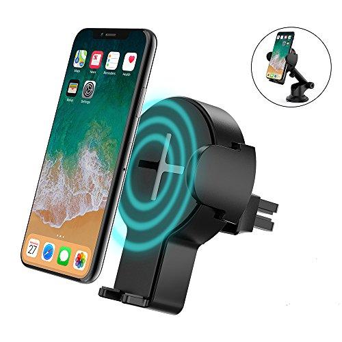 steanum Caricatore Wireless Auto Rapido, Ricarica Rapida Wireless Car Mount per Samsung Galaxy S8/ S8+/ S7/ S6 Edge+,Qi Charging Standard per iPhone X/8/8 Plus