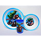 LAZYKARTS® Eco Friendly Avengers Character Print Kids PP Dinnerware Set - 3-Piece Set For Kids And Toddlers - Plate, Bowl And Tumbler That Children Love - Sparks Your Child's Imagination And Teaches Portion Control