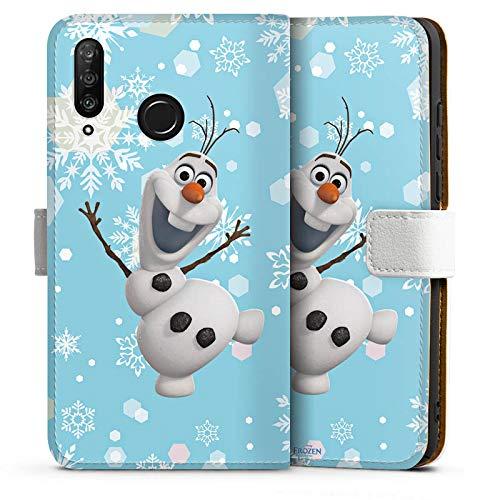 DeinDesign Tasche kompatibel mit Huawei P30 Lite Leder Flip Case Ledertasche Disney Frozen Olaf Geschenk Fanartikel (Disney Tasche Frozen)