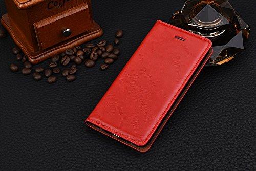 iPhone Case Cover IPhone 6s 6 Case, Business Étui en cuir Magneetic Fermeture Cas Crazing Horse Modèle Wallet Stand Case Avec Cash Card Slots Pour iPhone 6s 6 ( Color : Blue , Size : IPhone 6s ) Red