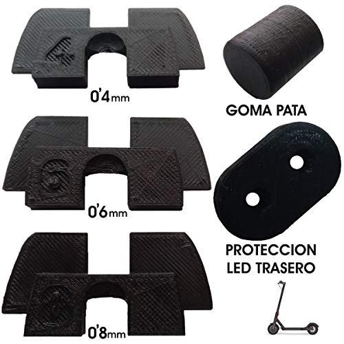 3dPrinted 3X Amortiguador de Goma 3D Flexible Anti holgura y vibración, 1x tapón Goma Patilla, 1x protección led para xiaomi mijia M365 M187 Scooter eléctrico
