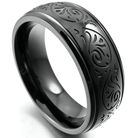 Aooaz Stainless Steel Ring For Men 7mm Engraved Florentine Design Black Gothic Punk Free Engraving Size T