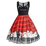 UFACE 50s Retro Vintage Rockabilly Kleid Partykleider Cocktailkleider (Rot Kätzchen, 4XL)