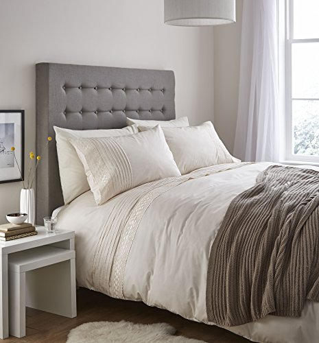 Catherine Lansfield Home Classic Lace Bands Embellished Duvet Cover Set, Cream, Single