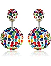 Via Mazzini Multicolour Disco Ball Double Sided Earrings For Women (ER0871)