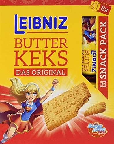 Leibniz Butterkeks Snack Pack — original Butterkeks in der Portionspackung für unterwegs — Kekse im Vorteilspack, einzeln verpackt — Butter-Gebäck in der Vorrats-Box (8 x 160 g)