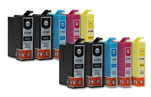 10 Cartuchos de tinta compatible con Epson T1306 (4x Negro, 2x Cian, 2x Magenta, 2x Amarillo)