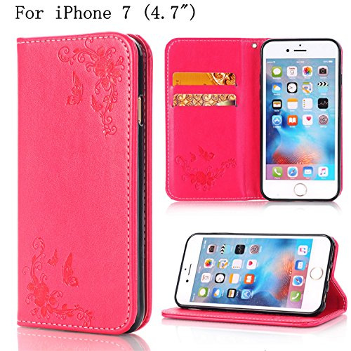 """iPhone 7 Wallet Case, iPhone 7s 4.7"""" Case,Heyqie(TM)[Kickstand] Embossing Butterfly Flower PU Leather Flip Folio Wallet Case with Card Holder and Wrist Lanyard for Apple iPhone 7 7s 4.7"""" - Gold Red"""