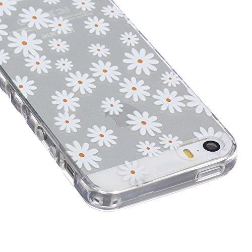 iPhone SE Hülle,iPhone 5 TPU Case, iPhone 5S Silikon Cover - Felfy Ultra Slim Klare Transparent Gel Klar Crystal Durchsichtig Flexible Elastisch Biegsam aussehend Eule Muster Schutzhülle für Apple iPh Weiß Daisy