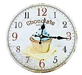 Vintage Wanduhr Küchenuhr Chocolate Cupcake Muffin Durchmesser 30cm
