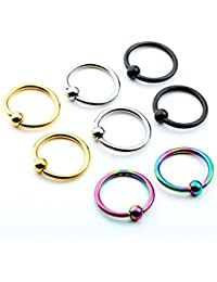 PiercingJ 8pcs 6-12mm Stainless Steel Captive Bead Ring CBR Hoop Helix Tragus Ear Lobe Earring Nose Ring