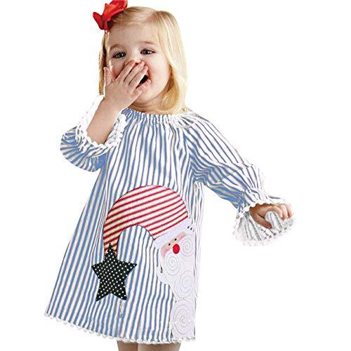 y Kleidung Set Pullover Outfits Winteranzug Kinder Kleinkind Baby Mädchen Santa Striped Prinzessin Kleid Weihnachten Outfits Kleidung (120, Blau) ()