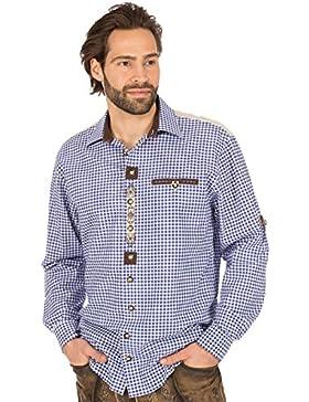 orbis Textil Trachtenhemd Krempelarm Karo Weiss Blau
