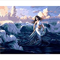 Frameless DIY Paintings by Numbers Paint by Number for Home Decor for Living Room 40 * 50Cm Walking in The Sea