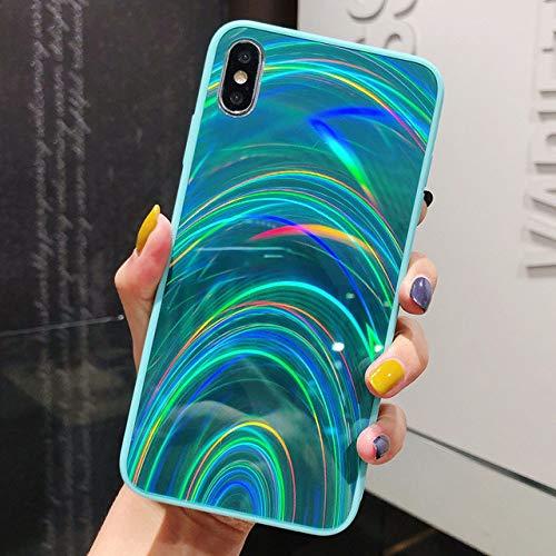 TGHUK iPhone Hülle,3D Rainbow Style Glitzer Mint Green Edge Rückseite Stoßfest Wasserdicht Schmutzabweisend Phone Case Für iPhone 11 8 7 X Xs Xr 7 Plus 8 Plus Xs Max, Für Das iPhone Xr -