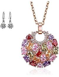 b7f8319ee59b Lv.unique Collar Mujer Collar de Oro Rosa de 18 Quilates Collar de circón de