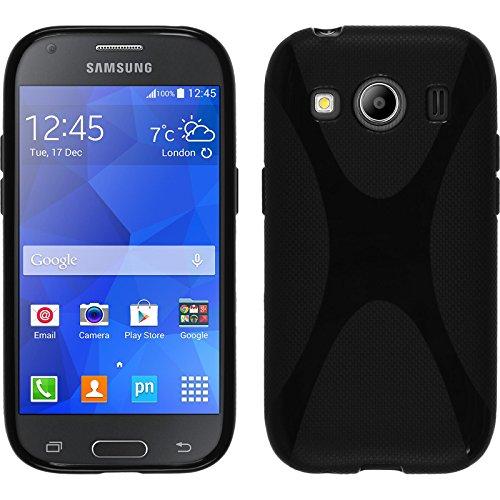 PhoneNatic Case für Samsung Galaxy Ace 4 Hülle Silikon schwarz, X-Style + 2 Schutzfolien