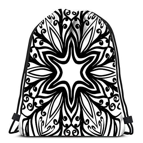 Turnbeutel mit Kordelzug, orientalisches Blumenmuster, Henna Mehendi, Sporttasche aus Polyester -