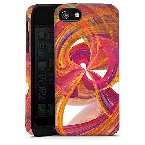 Apple iPhone 5s Housse Étui Protection Coque Spirale Peinture Abstrait Cas Tough terne