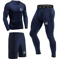 MEETEU 3 Pezzi Fitness Palestra Completi Sportivi Uomo Abbigliamento Sportivo, Pantaloni Compressione Maglie…