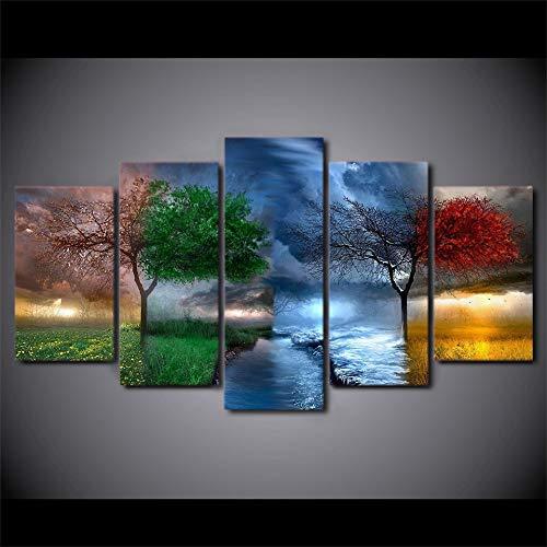 CANPIC HD Gedruckt Fantasy Natur 4 Jahreszeiten Malerei Leinwanddruck raumdekor gemälde für Wohnzimmer Wand, S1NoFrame -