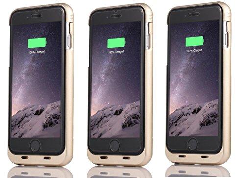 iPhone 6S Coque batterie Baidatong Ultra fin Coque batterie étendue pour iPhone 6(2015)/iPhone 6S (2017) (11,9cm) avec capacité de 2850mAh/100% batterie supplémentaire Gold 3 sets