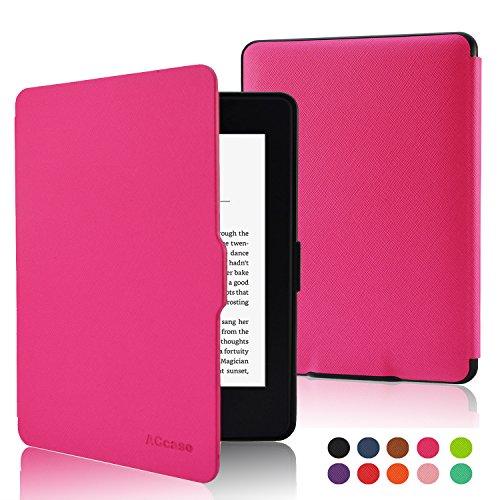 Touch Pink Leder (ACcover die dünnste und leichteste, schmal, Leder, automatischer Schlaf- / Wachmodus, Smart Schutzhülle für Amazon kindle paperwhite kindle paperwhite (nur für 2012 und 2013), nicht für kindle und kindle touch) kindle paperwhite Hot Pink)