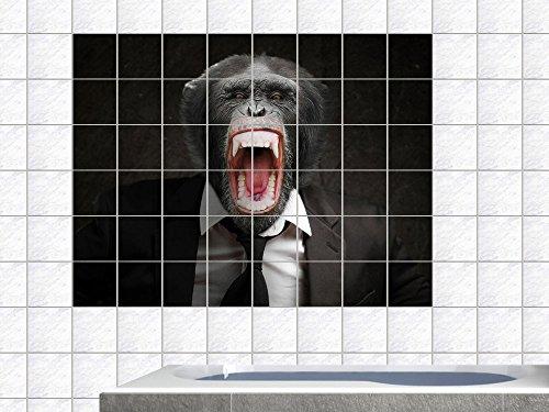 Fliesenaufkleber Fliesenbild Tiere Schimpanse Anzug Affe Büro Badezimmer (Fliesenmaß:20x25cm(BxH)//Bildformat:150x100cm(BxH)) Schimpansen-anzug