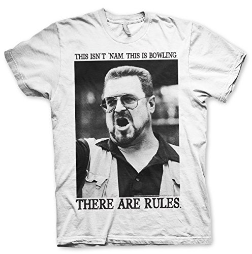 Officially Licensed Merchandise Big Lebowski - There Are Rules T-Shirt (White), Medium
