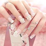 lzn 24 Stück / Set Falsche Nagel mit Kleber 3D Blumen Perlen Hochzeit Braut Fake Fingernägel Nail Art Dekorieren Werkzeug