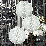 EinsSein 3 x Honeycomb WABENBÄLLE Supreme Weiss DM 30cm Hochzeit Wedding Wabenball Dekoration Lampion