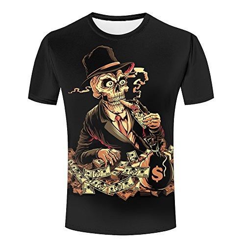 skull-smoking-cards-dollar-money-design-mens-summer-tee-shirt-xl