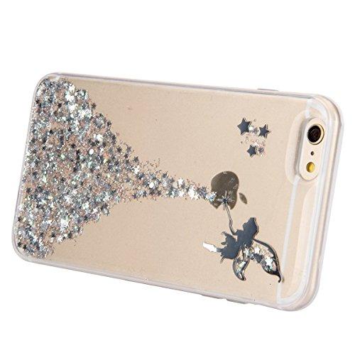 iPhone 6 6S Coque Housse Etui, iPhone 6 Rose Coque en Silcone Clair Ultra-Mince Etui Housse avec Glitter Diamant, iPhone 6S Silicone Coque Pink Slim Transparent Soft TPU Bumper Case with Bling Diamond Ange Glitter-argent