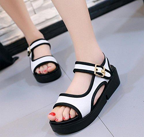 Sommer Sandalen dicke Kruste weibliche Schnallenschuhe Sandalen erhöht White