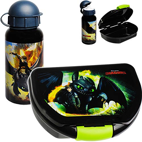 alles-meine.de GmbH 2 TLG. Set: Lunchbox / Brotdose + Trinkflasche - Dragons - Drachenzähmen leicht gemacht - BPA frei - 1 Fach - Brotbüchse Küche Essen - Wasserflasche für Junge..
