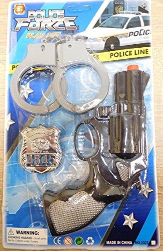 Set Policier 3 Piece Pistolet Revolver Menotte Badge - Police Agent - 510