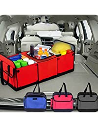 Amazing Car Trunk Cargo Picnic Trip Organizer Storage Folding Box Water Bottle Holder Grocery Bag