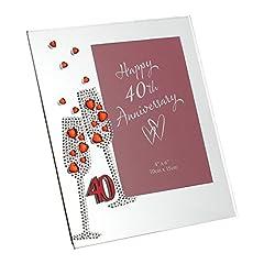 """Idea Regalo - Widdop Bingham & Co Ltd WG45440 - Portafoto in vetro, motivo: nozze di rubino, dimensione 7,5"""" x 6,5"""""""
