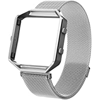 For Fitbit Blaze Band, Wearlizer Milanese Loop Watch Band Replacement With Metal Frame Stainless Steel Bracelet Strap for Fitbit Blaze