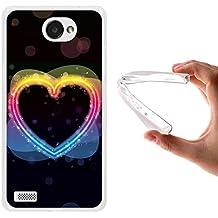 Funda LG X150 Bello 2, WoowCase [ LG X150 Bello 2 ] Funda Silicona Gel Flexible Corazon Arcoiris Multicolor, Carcasa Case TPU Silicona - Transparente