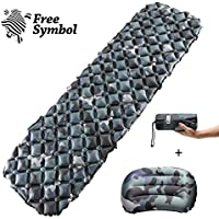 Inflatable Sleeping Mat Ultralight Sleeping Pad Camping Mattress with Pillow, Inflatable Roll Mat,Lightweight Compact Air Pad, Portable Folding Inflating Single Bed for Hiking Hammock Tent Backpacking