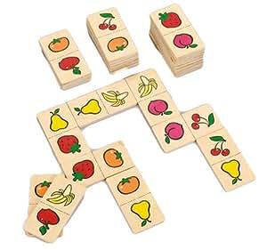 Happy People 60509 - 1st Domino aus Holz, viele Motive, 28 Teile pro Karton, circa 21 cm