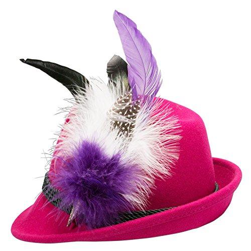 Alpenflüstern Damen Filzhut Trachtenhut pink mit Hutfeder Farbenfroh ADV07700M70 lila