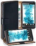 OneFlow Tasche für HTC One M7 Hülle Cover mit Kartenfächern | Flip Case Etui Handyhülle zum Aufklappen | Handytasche Schutzhülle Zubehör Handy Schutz Bumper in Schwarz