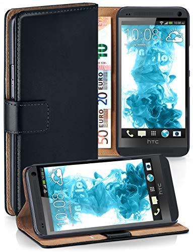 moex® Booklet mit Flip Funktion [360 Grad Voll-Schutz] für HTC One M7 | Geldfach und Kartenfach + Stand-Funktion und Magnet-Verschluss, Schwarz (Htc One Kamera M7)