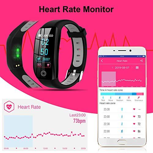 Imagen de tipmant pulsera de actividad, reloj inteligente smartwatch impermeable ip68 pulsera inteligentes con pulsómetro podómetro calorías pulsera deporte para android y ios para hombre mujer niños negro  alternativa