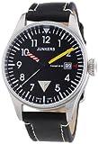 Junkers 6144-3 - Reloj analógico de cuarzo para hombre, correa de cuero color negro (agujas...